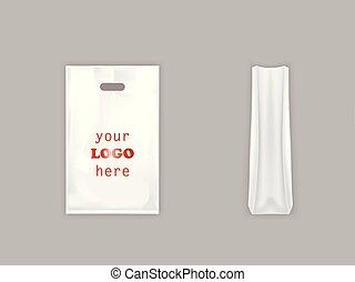 punho, realístico, sacola plástica, vetorial, branca