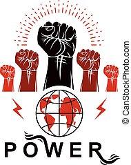 punhos, levantado, revolução, globe., pessoas, direitos, marketing, criado, cima, dispositivos, idea., seu, voador, vetorial, clenched, modelo, usando, terra, demonstração, luta, loudspeakers