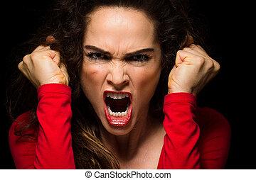 punhos, mulher zangada, varie, agarrar