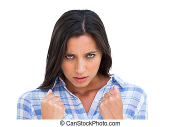 punhos, mulher, zangado, olhando jovem, câmera, fechado