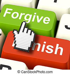 Punish Forgive Computer Shows Punishment or Forgiveness -...