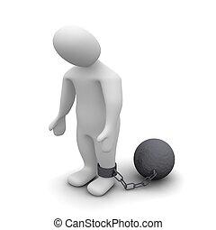 Punished criminal. 3d rendered illustration isolated on white.