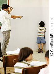 Punishing children in classroom, angry teacher and kid in...