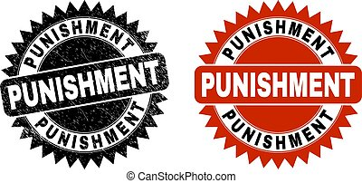 Black rosette PUNISHMENT seal stamp. Flat vector textured seal stamp with PUNISHMENT text inside sharp rosette, and original clean source. Watermark with distress style.
