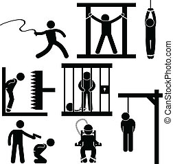 A set of pictogram representing punishment, torture, execution and death penalty.