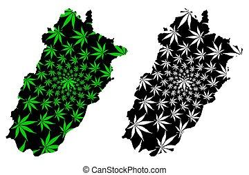 Punjab (Islamic Republic of Pakistan, Province and Districts of Pakistan) map is designed cannabis leaf green and black, Punjab province map made of marijuana (marihuana, THC) foliage,