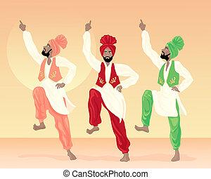 punjabi dancing - an illustration of three male punjabi...