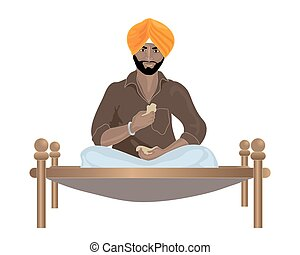 an illustration of a Punjabi Sikh man eating chapattis on a bed wearing a shirt sarong and turban on a white background