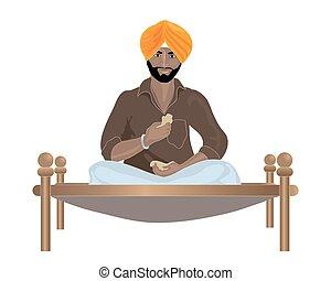 punjabi man - an illustration of a Punjabi Sikh man eating...