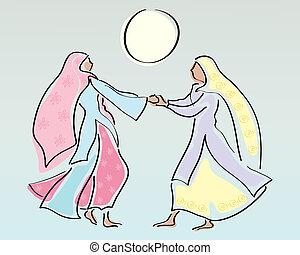 punjabi women - an illustration of two traditionally dressed...