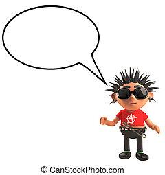 punk, burbuja, mecedora, blanco, carácter, caricatura, discurso, ilustración, 3d