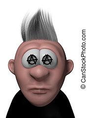 punk cartoon guy with anarchy symbols - 3d illustration