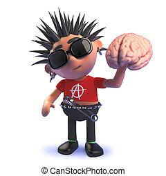 punk, cerebro humano, mecedora, tenencia, carácter, caricatura, 3d
