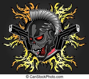 punk cyber human skull with pistols