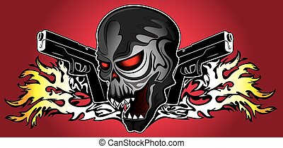 punk cyber human skull with pistols and fire flames...