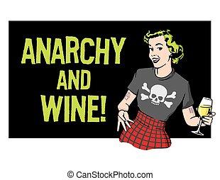 punk, dona de casa, vetorial, desenho, rocha, anarquia, vinho