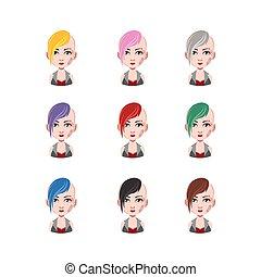 punk, dziewczyna, -, 9, różny, włosy, kolor