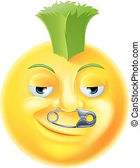 Punk Emoji Emoticon - A cartoon punk emoji emoticon with...