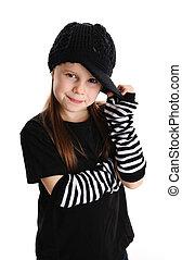 punk, giovane, roccia, ritratto, ragazza, cappello