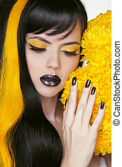 Punk Girl Portrait with Colorful Makeup, Long Hair, Nail...