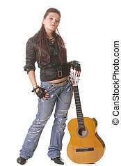 Punk girl with guitar