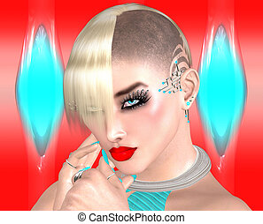 Punk girl with Mohawk hairstyle on