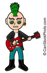Punk guitarist - Punker playing the guitar isolated on a...