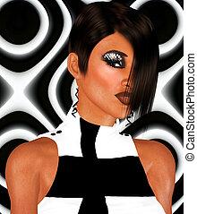 Punk hair,unique beauty and fashion scene against a black...