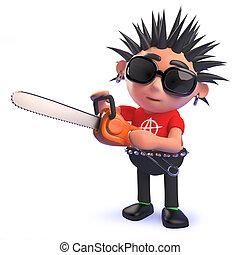 punk, juego, mecedora, carácter, caricatura, chainsaw, 3d