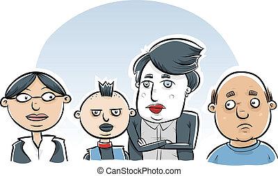 Punk Kids - A cartoon man and women with their punk rock...