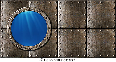 punk, métal, sous-marin, fond, hublot, vapeur