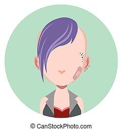punk, menina, -, avatar, apartamento