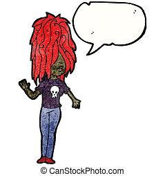 punk, menina, borbulho fala, caricatura