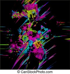 Punk, Neon Party Girl - This abstract digital art image is a...