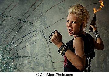 punk, niña, atrás, cristal quebrado