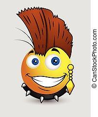 Punk Pop Star Emoji Smiley Emoticon - Punk Pop Star Emoji...