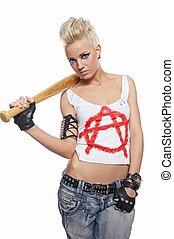 punk, ragazza, con, uno, pipistrello