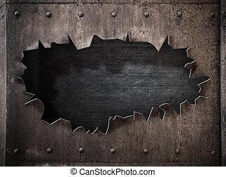 punk, rasgado, metal, oxidado, plano de fondo, agujero,...