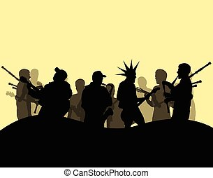 Punk rock band culture vector background
