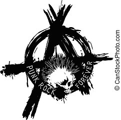 Vector illustration symbol anarchy and punk skull for t-shirt or tattoo design