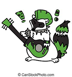 Punk rock raccoon with guitar illustration clipart. Simple ...