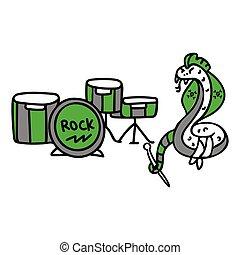 Punk rock snake with drum set vector illustration clipart. ...