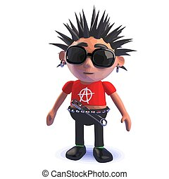 3d rendered image of a punk rocker 3d cartoon character standing pensively