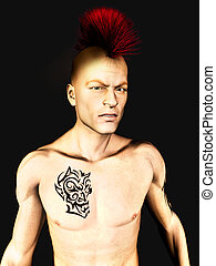 Punk rocker - A male punk rocker with a mohawk hair and a...