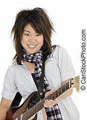 Punk Rocker - Caucasian teenager posing as a punk rocker on...
