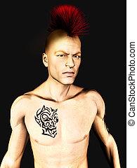 Punk rocker - A male punk rocker with a mohawk hair and a...