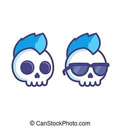 punk, rysunek, czaszka