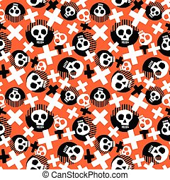 Punk seamless pattern with grunge bold painted funky skulls.