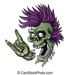 Punk skull. skull illustration. cartoon skull.