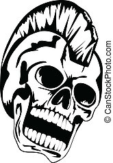 punk skull - Vector image skull of the punk with mohawk on...